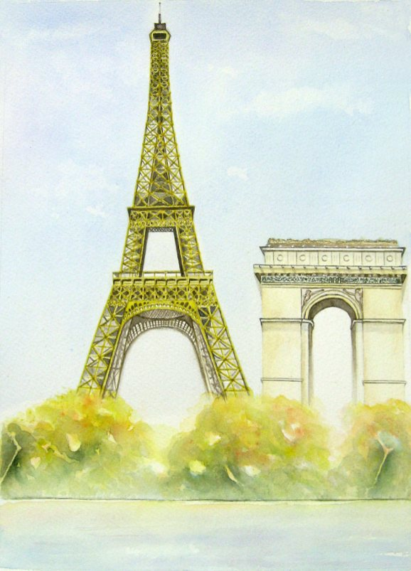 #WorldWatercolorGroup - Watercolor by Elisa Choi Ang - Eiffel Tower and Arc de triomphe - #doodlewash