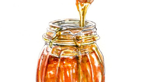 Day 12 - #WorldWatercolorGroup - Honey, Honey Jar With Drizzle - #doodlewash