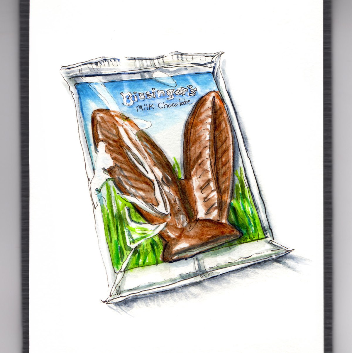 Day 16 - #WorldWatercolorGroup - Easter Bunny Chocolate Ears In Package - #doodlewash
