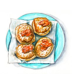 Day 17 - #WorldWatercolorGroup - Apricot Jelly Doughnuts - #doodlewash