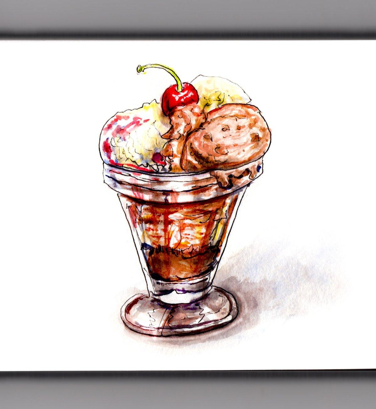 Day 30 - #WorldWatercolorGroup - Ice Cream Sundae Dessert With Cherry - #doodlewash