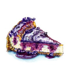 Day 5 - #WorldWatercolorGroup - Blueberry Cheesecake Puddles Watercolour Dessert - #doodlewash