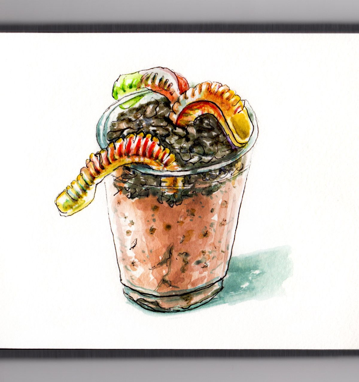 Day 6 - #WorldWatercolorGroup - Eating Dirt And Worms - Dessert Fun Treat for Kids with Oreos pudding and gummi worms - #doodlewash