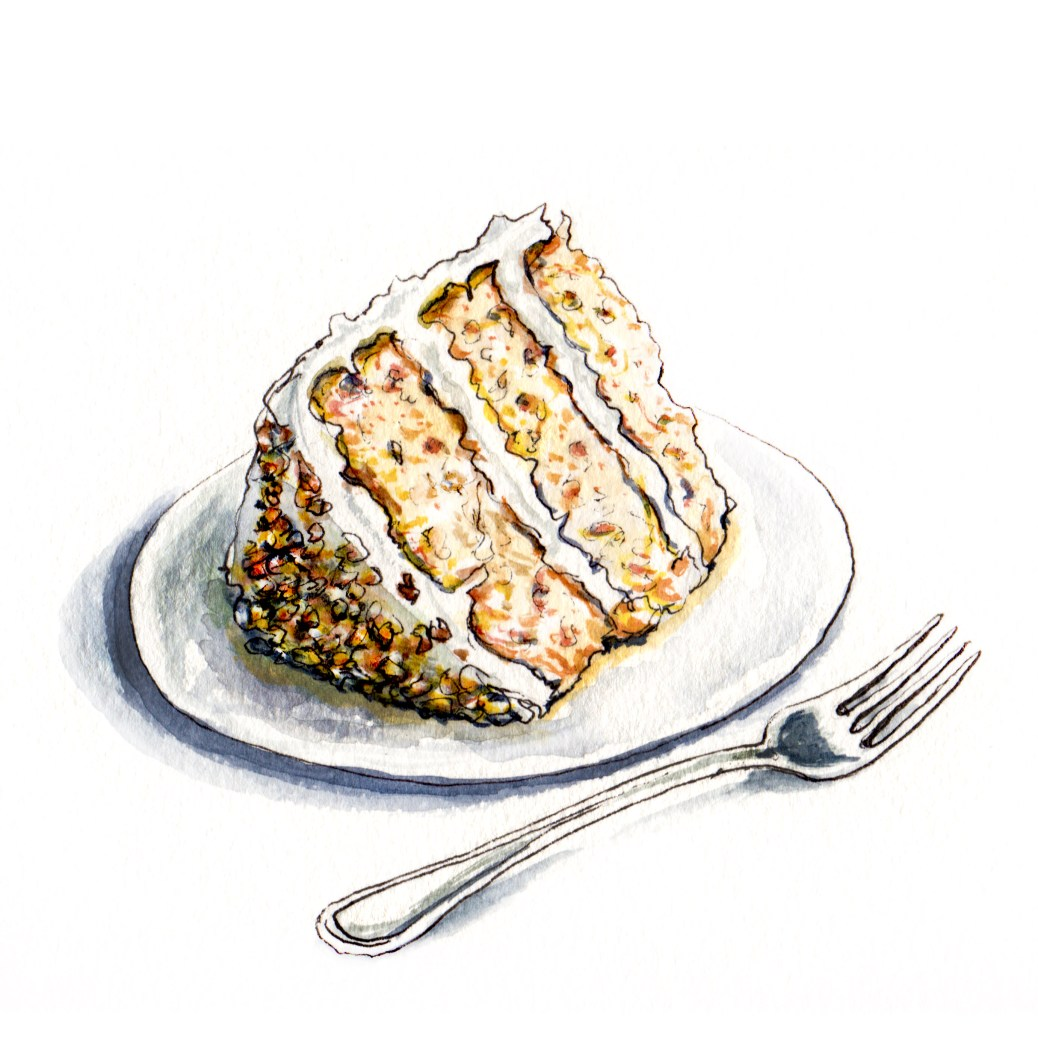 Day 8 - #WorldWatercolorGroup - Hummingbird Cake On Plate WIth Spoon - #doodlewash