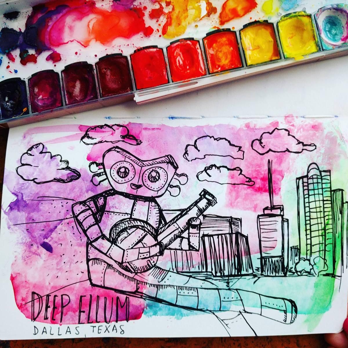 #WorldWatercolorGroup - Watercolor sketch by Volta Voloshin-Smith of Color Snack - Robot - #doodlewash