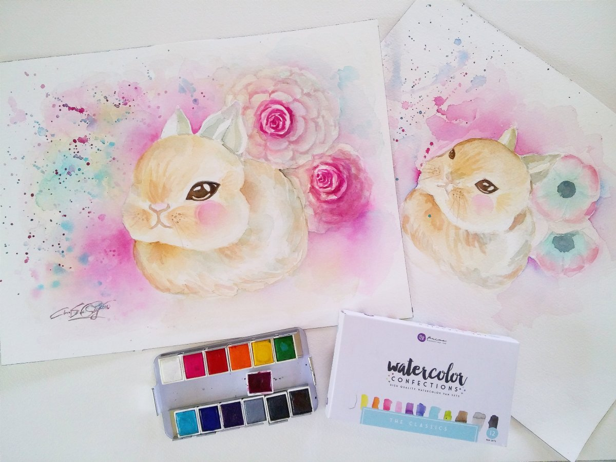 #WorldWatercolorGroup - watercolor bunny and flowers by Cheryl Sun-Ong - #doodlewash