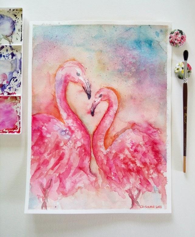 #WorldWatercolorGroup - watercolor flamingos by Cheryl Sun-Ong - #doodlewash
