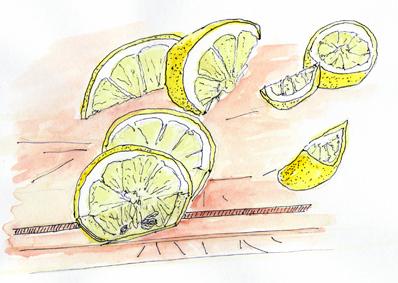 #WorldWatercolorGroup - Watercolor by Tim Soekkha of lemon slices - #doodlewash