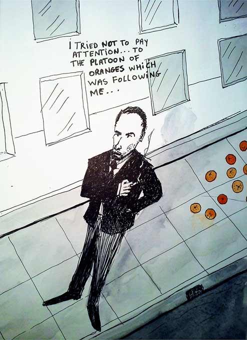 #WorldWatercolorGroup - Sketch by Tim Soekkha of man followed by oranges noir - #doodlewash