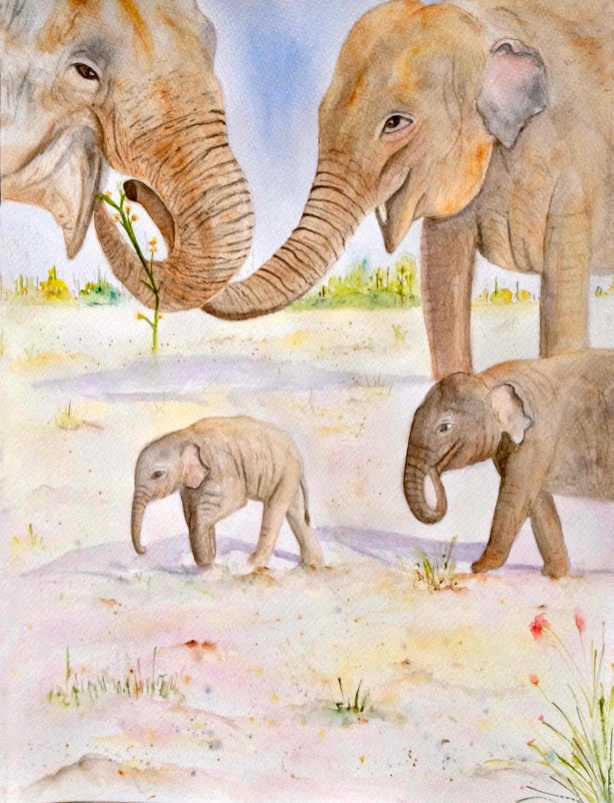 #WorldWatercolorGroup - Watercolor by Elisa Choi Ang - elephants and baby elephants - #doodlewash
