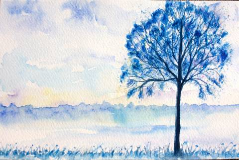 #WorldWatercolorGroup - Watercolor by Elisa Choi Ang - landscape - #doodlewash