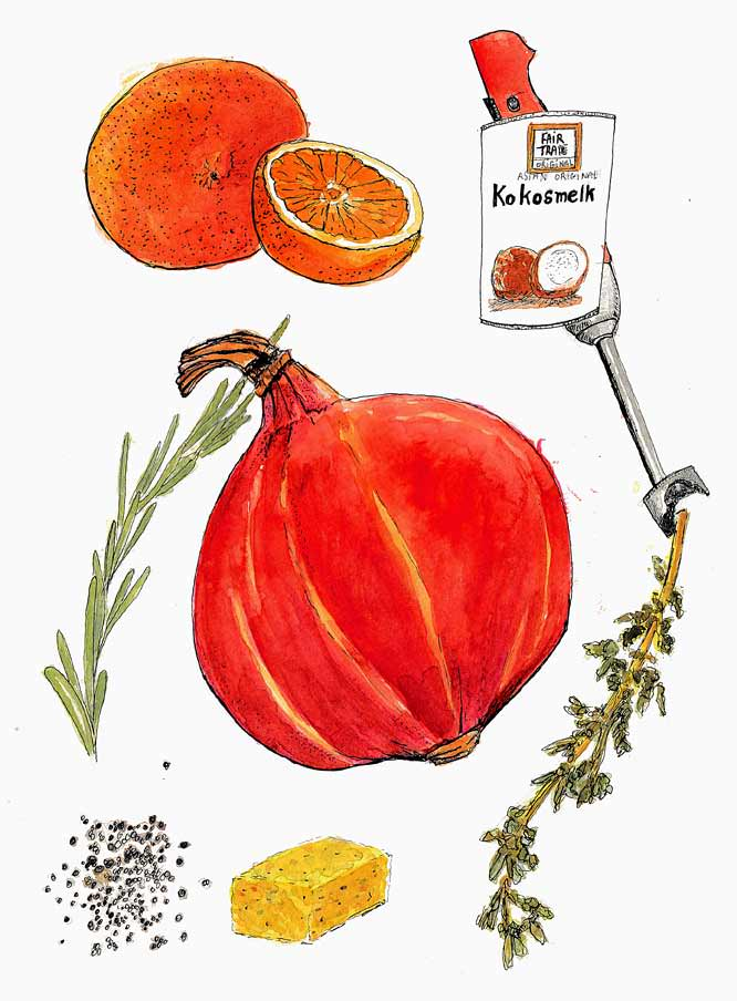 #WorldWatercolorGroup - Watercolor by Tim Soekkha of food cooking ingredients - #doodlewash