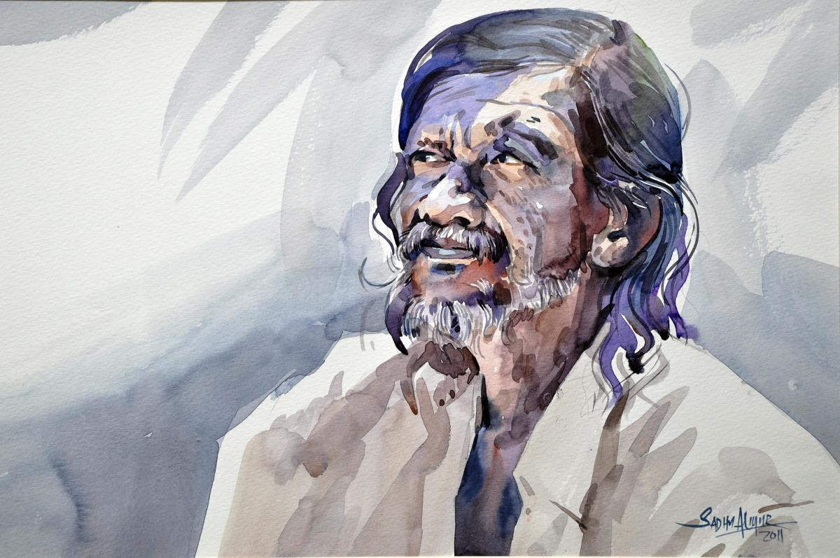 #WorldWatercolorGroup - Watercolor painting by Sadhu Aliyur - portrait of man - #doodlewash