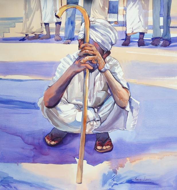 #WorldWatercolorGroup - Watercolor painting by Sadhu Aliyur - Man With Cane - #doodlewash