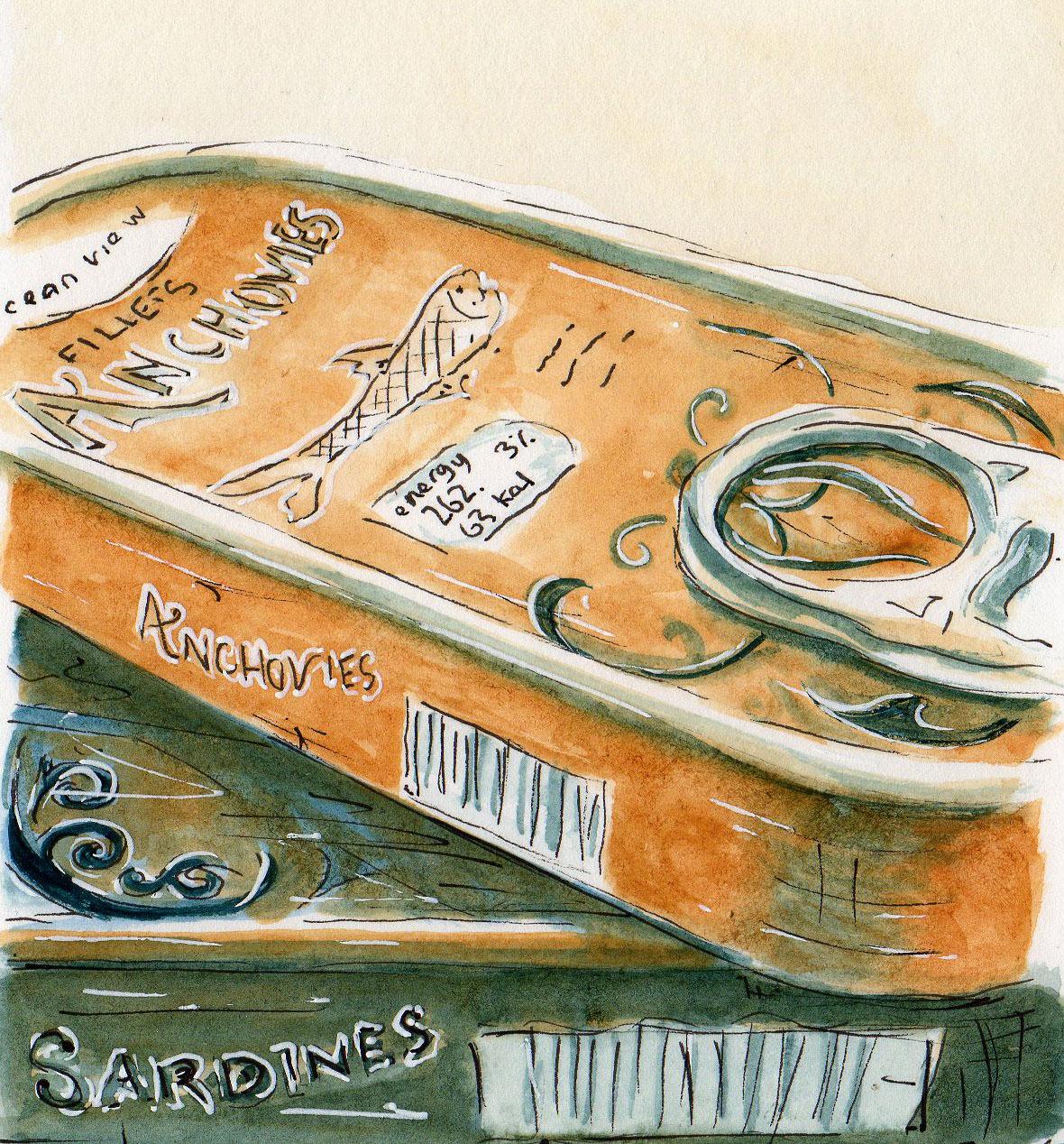 #WorldWatercolorGroup - Watercolor illustration by Patricia Mellett Brown - sardines - #doodlewash