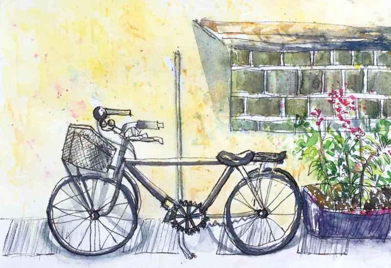#WorldWatercolorGroup - Watercolor by Elisa Choi Ang - bicycle - #doodlewash