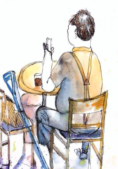 #WorldWatercolorGroup - Watercolor by Elisa Choi Ang - man on phone - #doodlewash