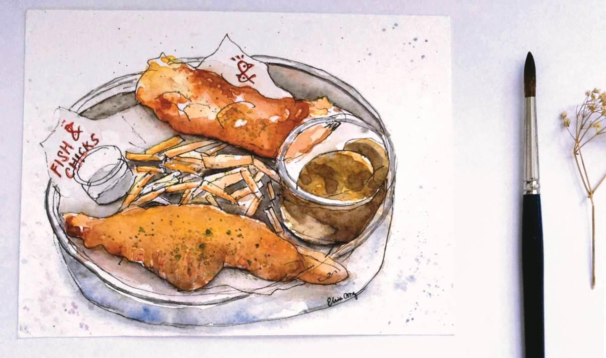 #WorldWatercolorGroup - Watercolor by Elisa Choi Ang - fish and chicks - #doodlewash