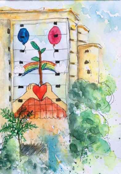 #WorldWatercolorGroup - Watercolor by Elisa Choi Ang - building mural - #doodlewash