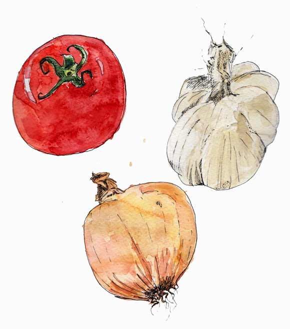 #WorldWatercolorGroup - Watercolor by Tim Soekkha of vegetables - #doodlewash