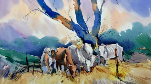 #WorldWatercolorGroup - Watercolor painting by Sadhu Aliyur - cows - #doodlewash