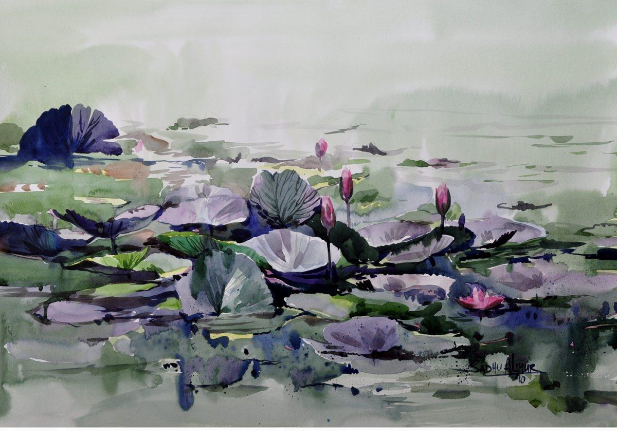 #WorldWatercolorGroup - Watercolor painting by Sadhu Aliyur - water lilies - #doodlewash
