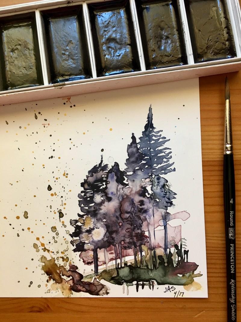 Boku-Undo E-Sumi Watercolor Paint 6 Colors Set watercolour box watercolor painting by jessica seacrest on Yupo