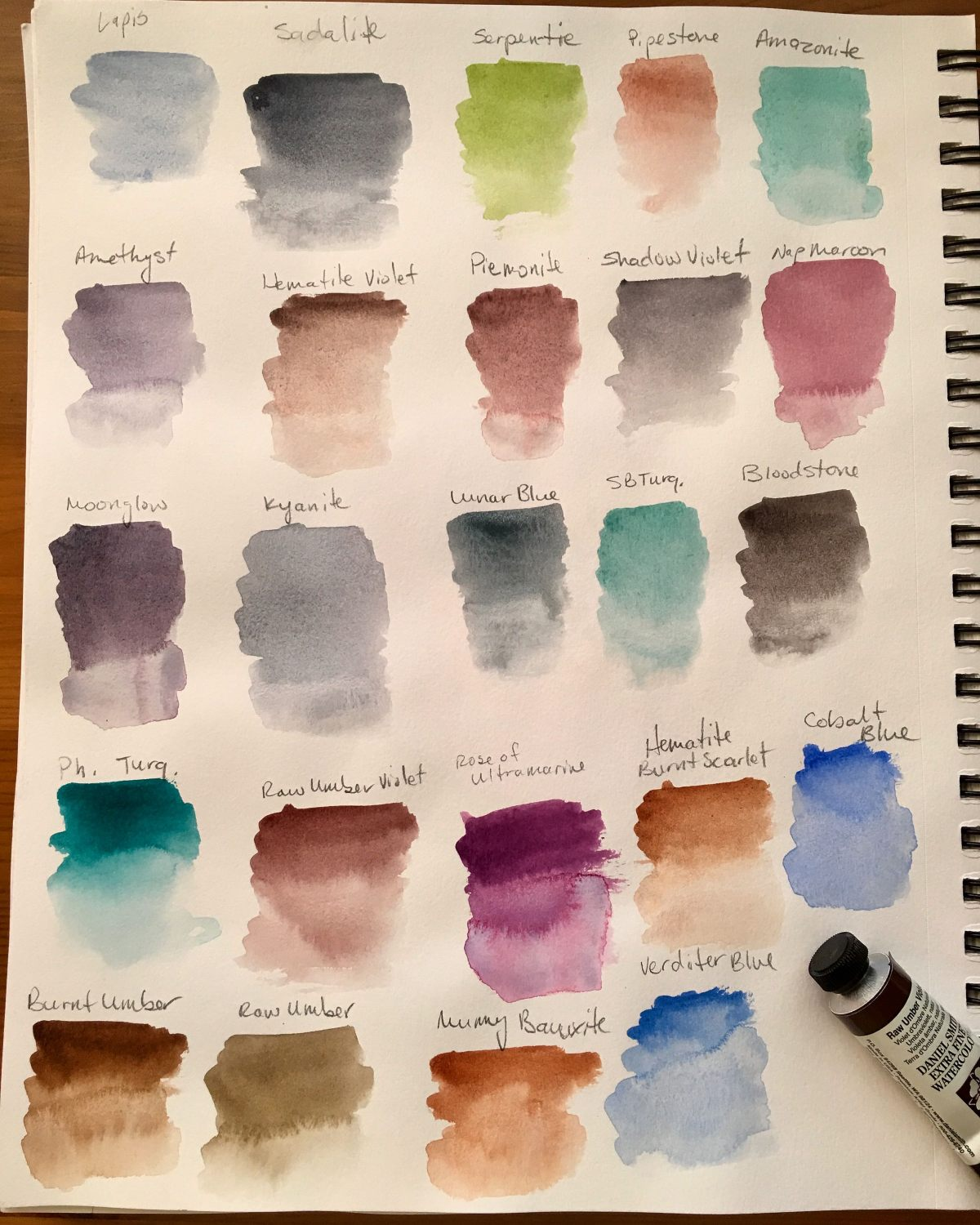 Daniel smith watercolor swatches in a Canson XL mixed media sketchbook