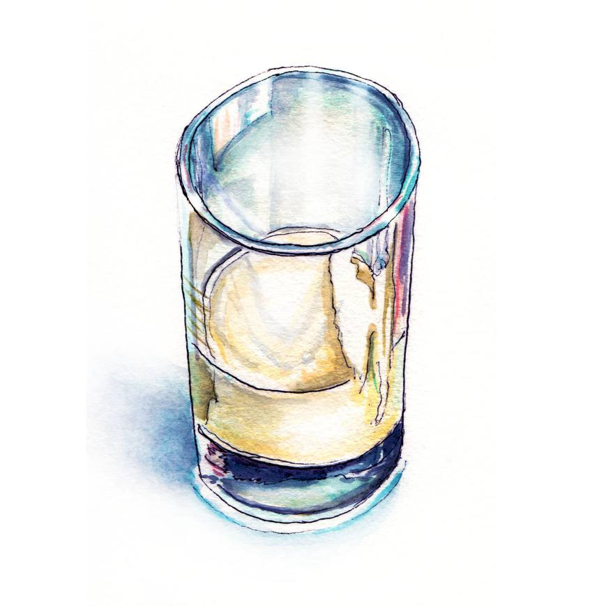 Day 15 - #WorldWatercolorGroup - Hazy Glass of Milk - Half Full - #doodlewash