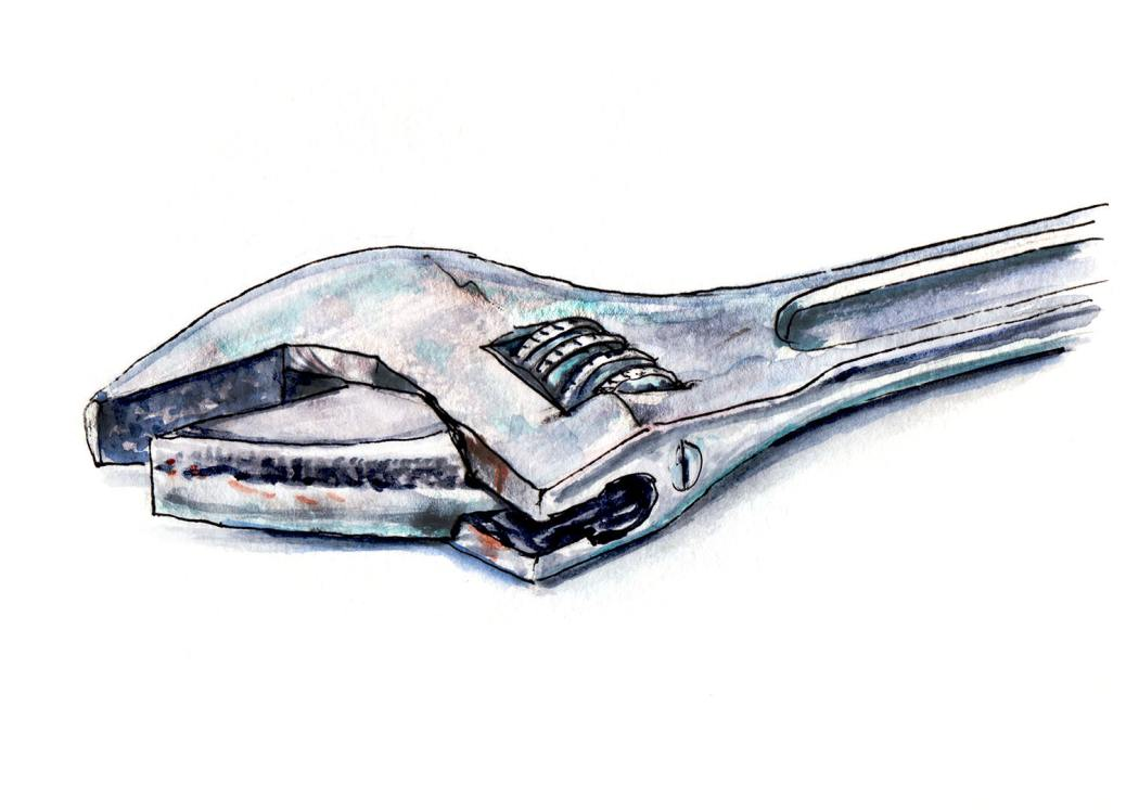 Day 20 - #WorldWatercolorGroup - Under Construction - Wrench - #doodlewash