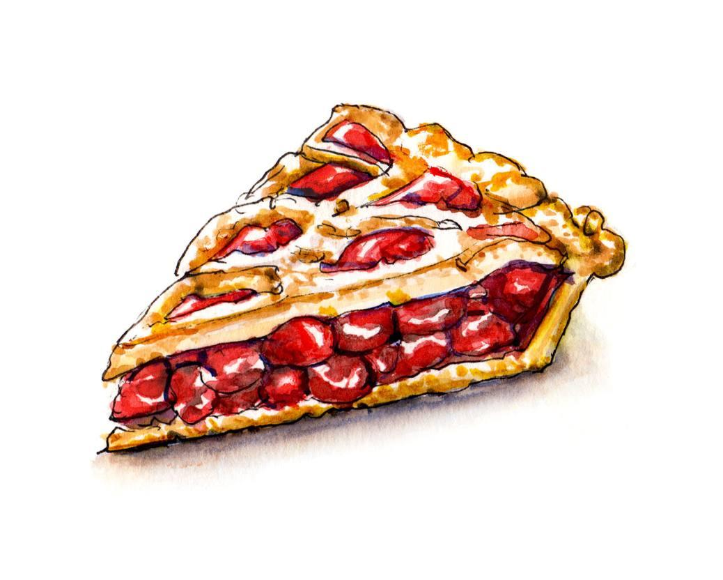 #WorldWatercolorGroup - Slice of Cherry Pie Watercolour - #doodlewash