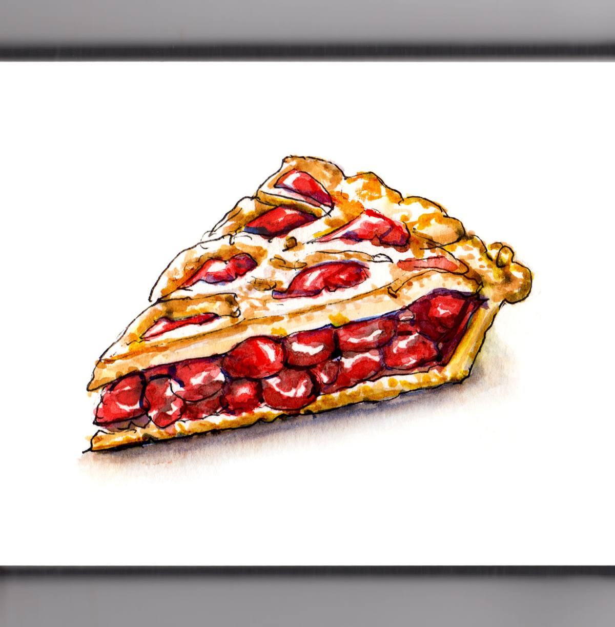 #WorldWatercolorGroup - Slice of Cherry Pie Watercolour - #doodlewash
