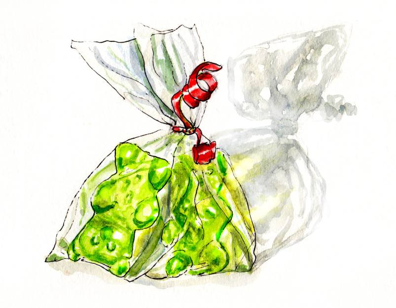 Day 27 - Quick Sketch of Gummi Bears In a Plastic Bag - #doodlewash
