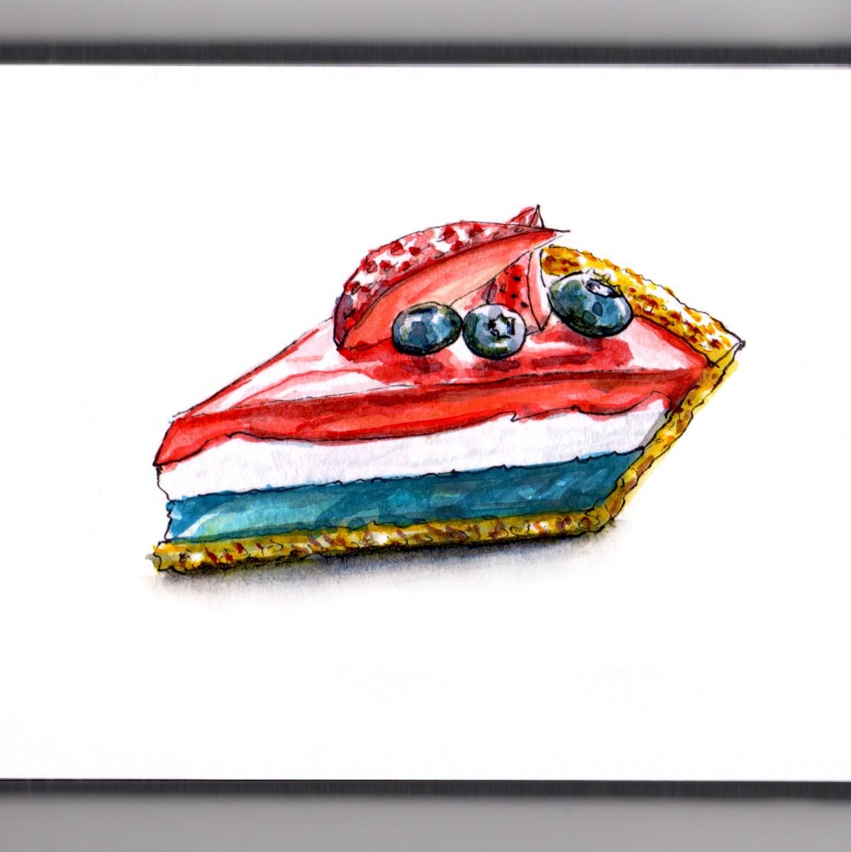 Day 29 - #WorldWatercolorGroup - American Pie Watercolor Memorial Day - #doodlewash