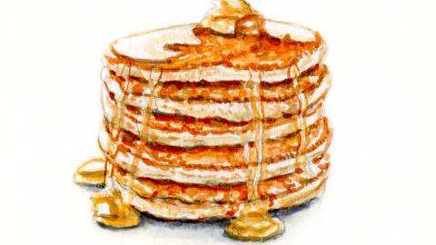 Day 31 - #WorldWatercolorGroup - Fluffy Pancakes With Syrup Watercolor - #doodlewash
