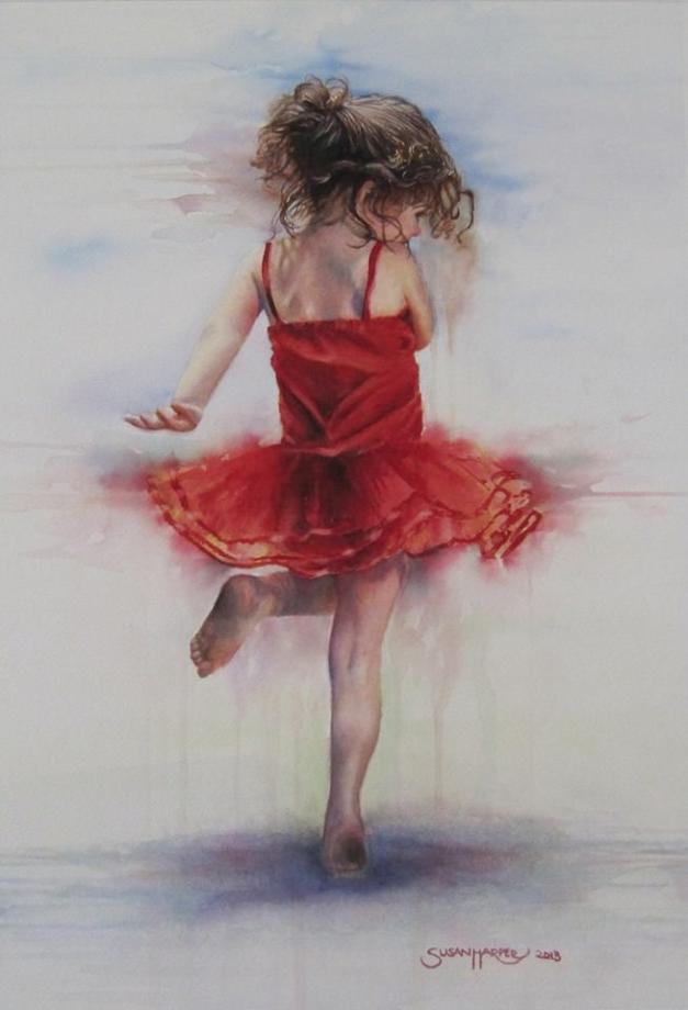 #WorldWatercolorGroup - Watercolor by Susan Walsh Harper - La Danse - girl in red dress - #doodlewash