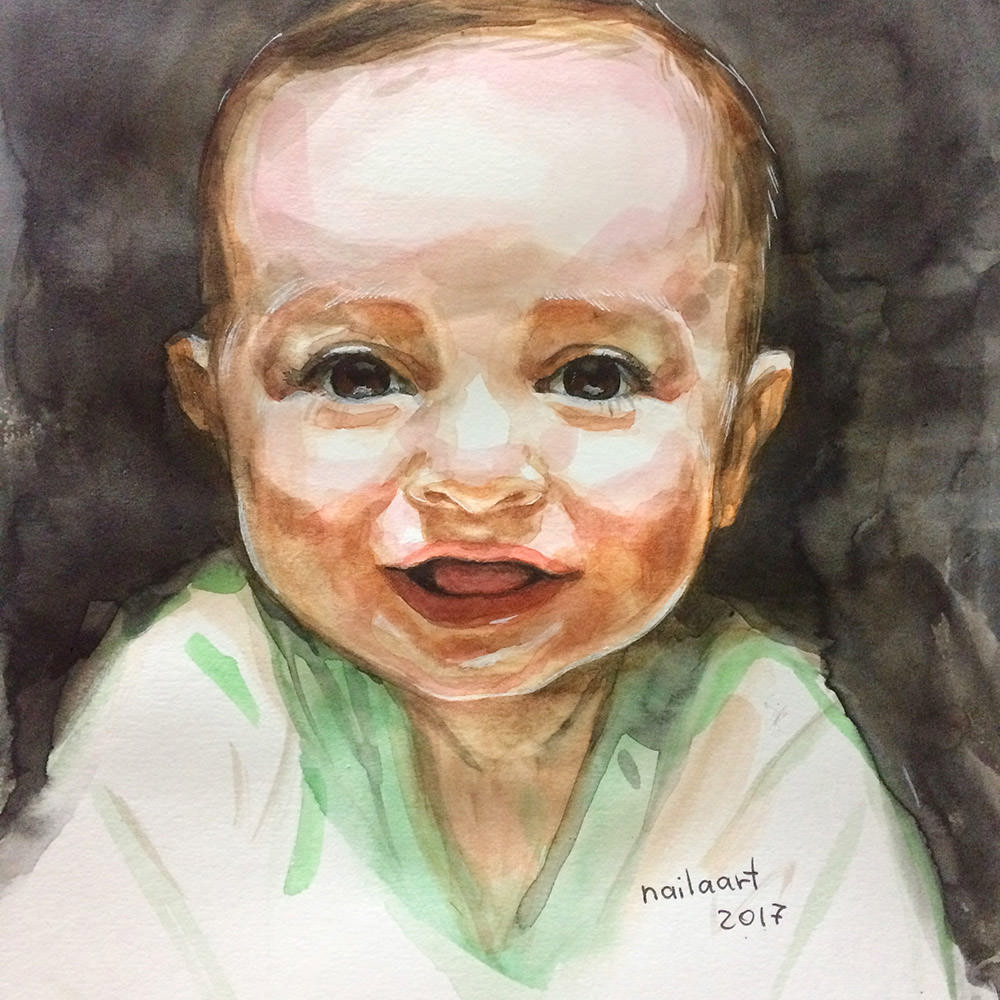 #WorldWatercolorGroup - Watercolor by Naila Hazell - Portrait of A Baby - #doodlewash