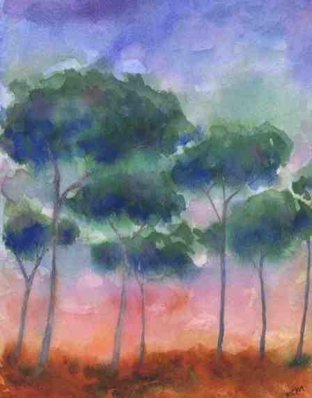 #WorldWatercolorGroup - Watercolor by Cristina Mazzoni - trees - #doodlewash