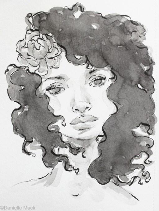 #WorldWatercolorGroup - Watercolor painting by Danielle Mack - flower girl - #doodlewash