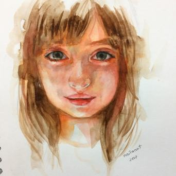 #WorldWatercolorGroup - Watercolor by Naila Hazell - Portrait of A Girl - #doodlewash