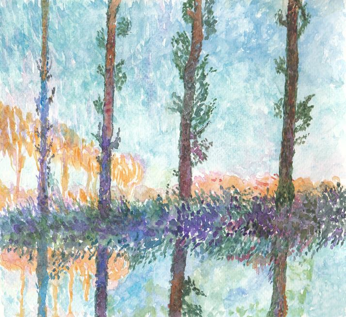 #WorldWatercolorGroup - Watercolor by Jan Purves - Homage to Monet - #doodlewash