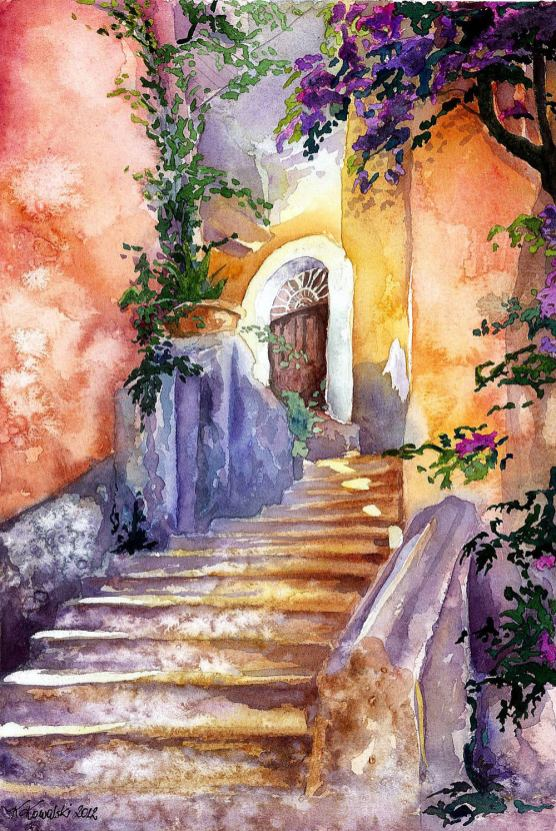 #WorldWatercolorGroup - Watercolor by Krzysztof Kowalski - Magical Stairs - #doodlewash