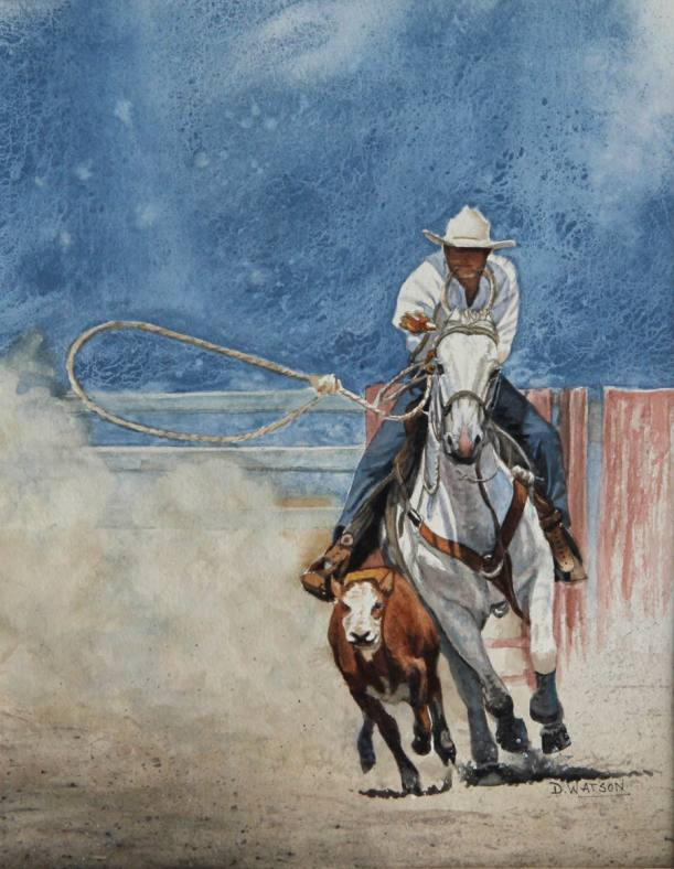 #WorldWatercolorGroup - Watercolor painting by Deb Watson - moving fast - man on horse roping cattle - #doodlewash