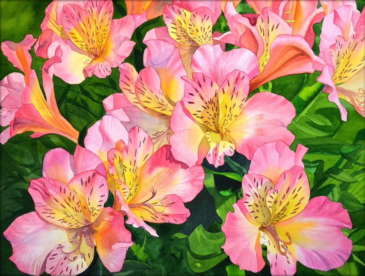 #WorldWatercolorGroup - Watercolor by Krzysztof Kowalski - Peruvian Lily - #doodlewash