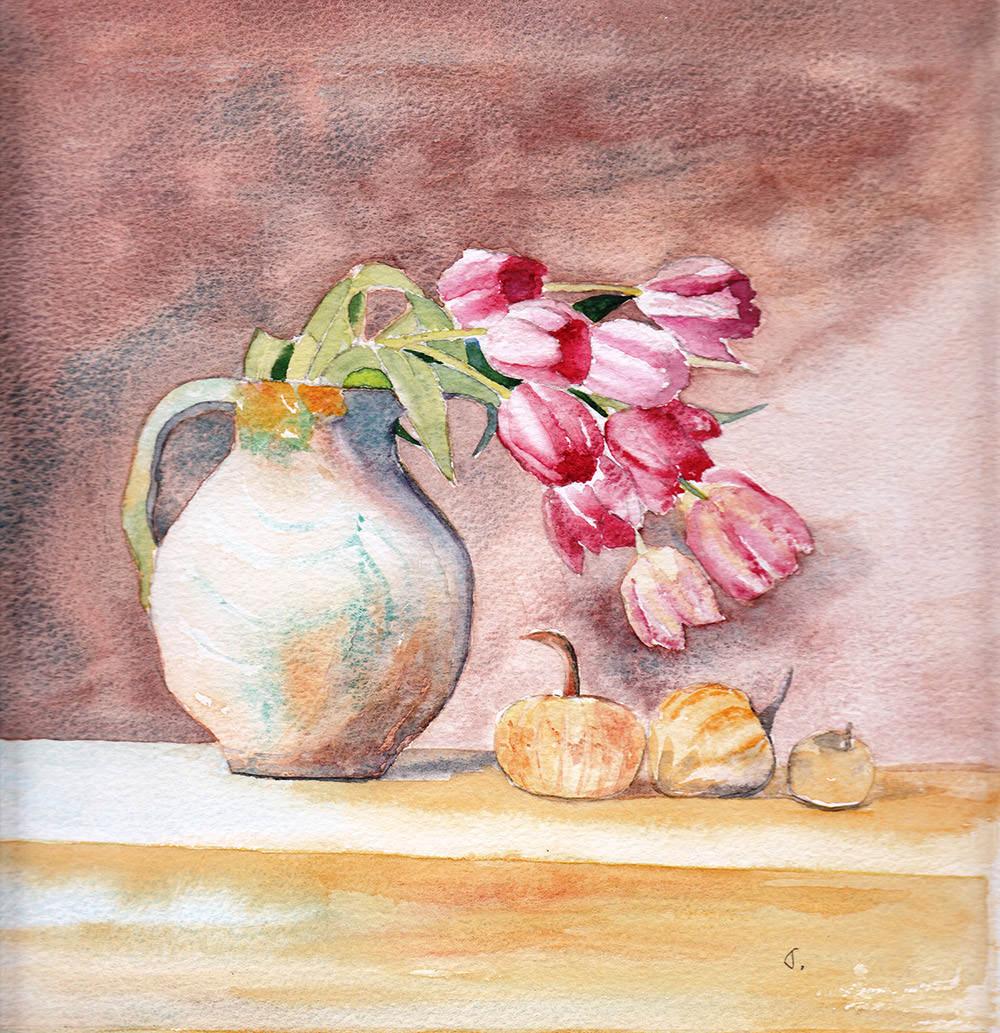 #WorldWatercolorGroup - Watercolor by Jan Purves - Towars the Light - Flowers in Vase - #doodlewash