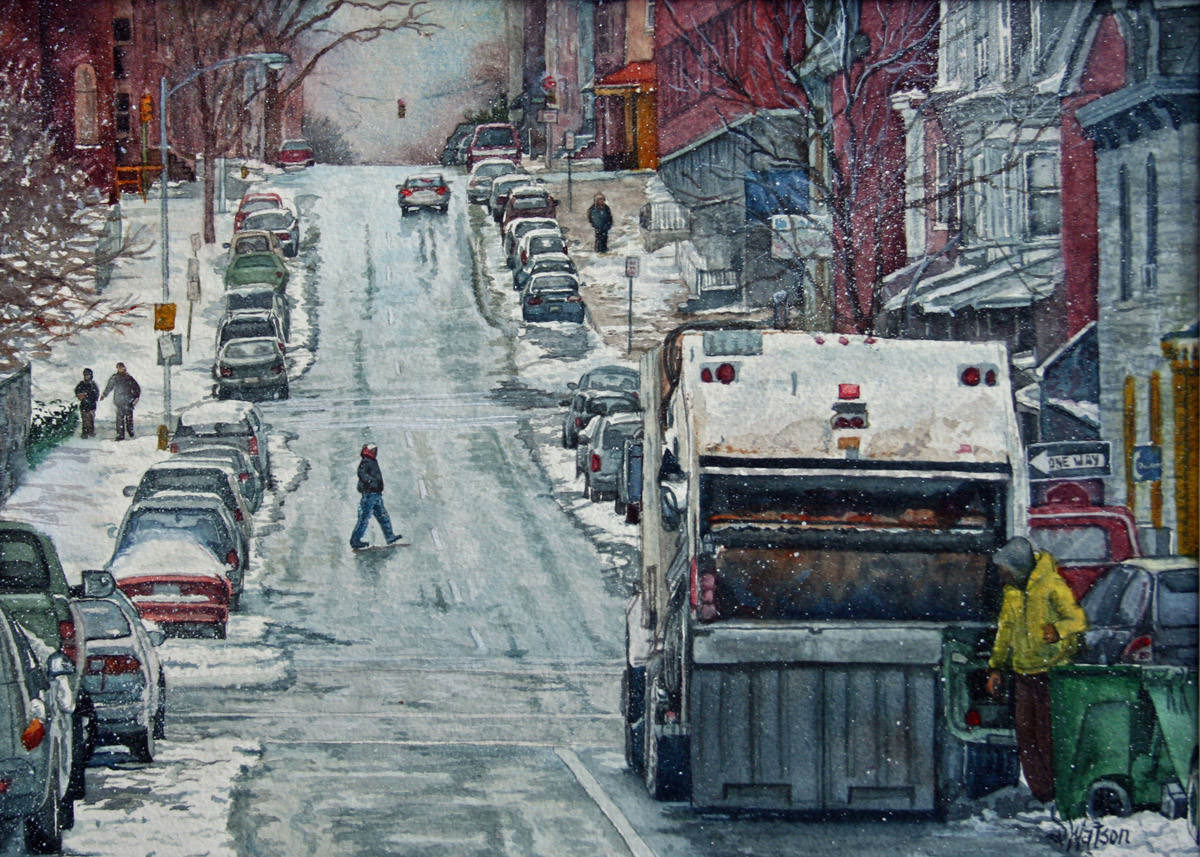 #WorldWatercolorGroup - Watercolor painting by Deb Watson - trash day - #doodlewash