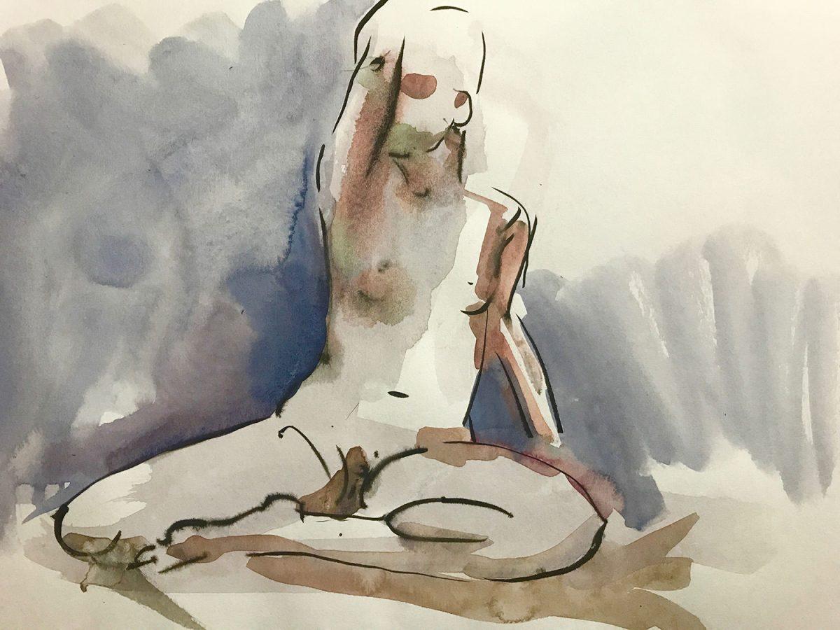 #WorldWatercolorGroup - Watercolor by Naila Hazell - Watercolor Nude - #doodlewash