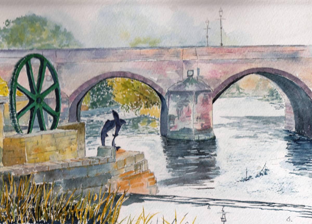 #WorldWatercolorGroup - Watercolor by Jan Purves - Wetherby Bridge - #doodlewash