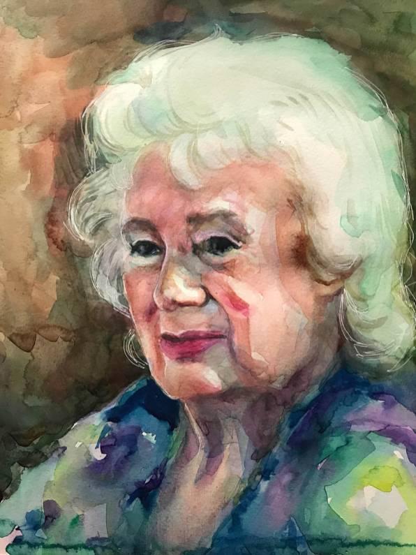 #WorldWatercolorGroup - Watercolor by Naila Hazell - Older Woman's Portrait - #doodlewash