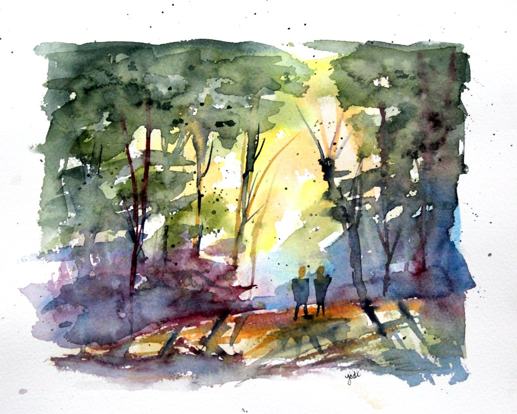 A Walk in the Woods A walk in the woods watercolor 8×10 Fabriano 140lb cold press